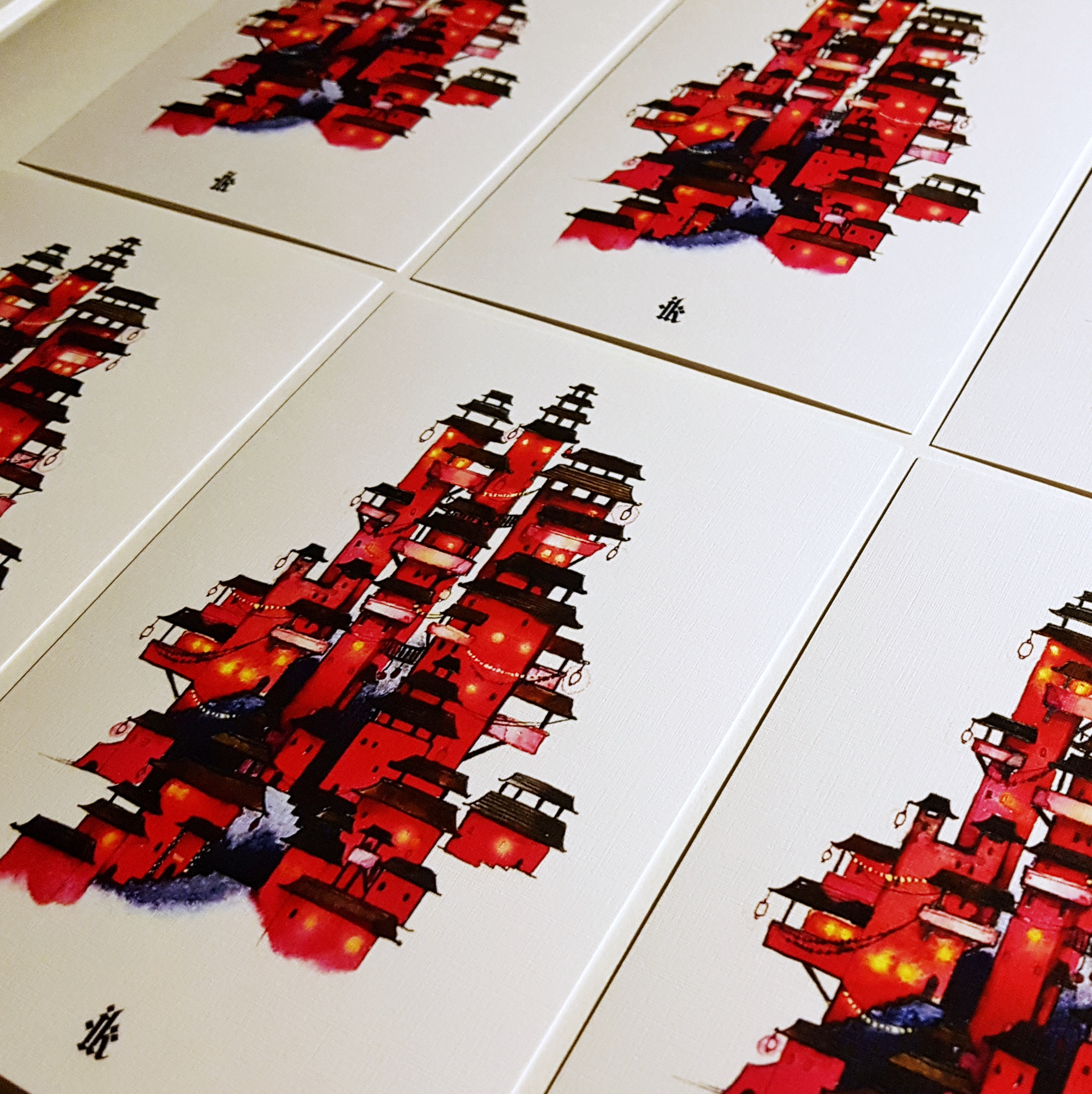 red-temple-asian-prints