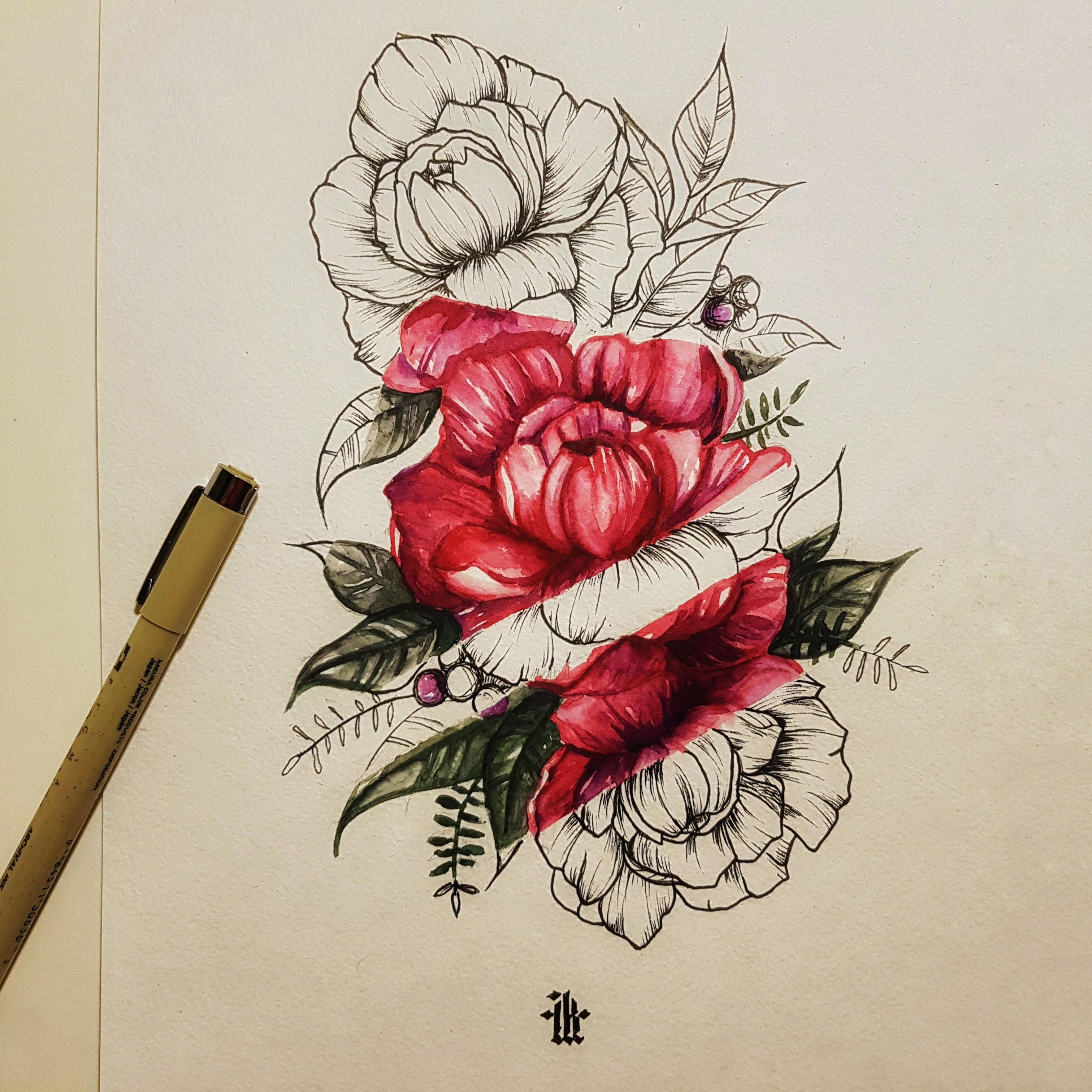 татуировка-пион
